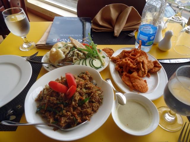 Clockwise L-R: Nasigourang - Vegetable Pakora- Kottu Rotti