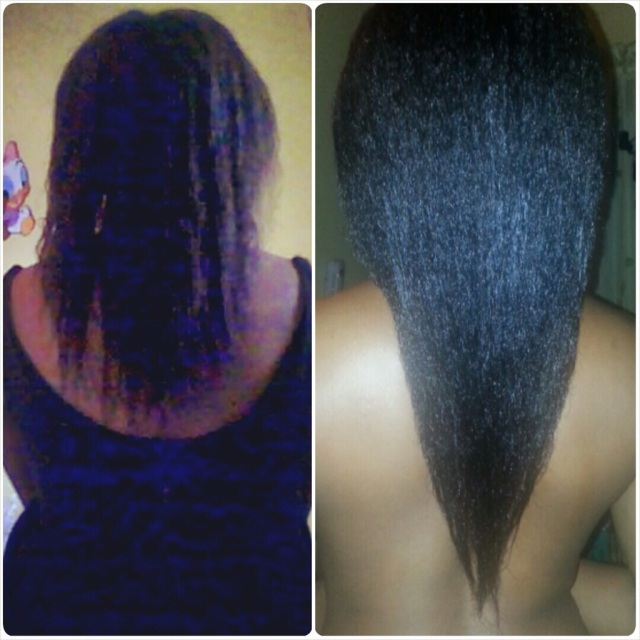 Relaxed hair. L- April 2013, R- March 2014