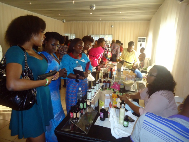 Ladies shopping at the Natural Nigerian table